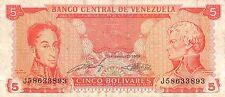 Venezuela  5 Bolivares 9.21.1989  Series J circulated Banknote NS10