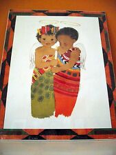 AFRICAN AMERICAN PRINT TWO CHILDREN ANGELS BY SYLVIA  WALKER