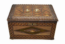 Antique Tramp Art Jewelry Box, Flemish.