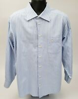 Eton Men's Dress Shirt Size 17 / 34 Woven 100% Cotton Blue White Stripe