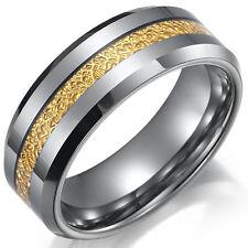 Tungsten Carbide Men's Center Gold Layer Grey Silver 8MM Wedding Band Ring SR111