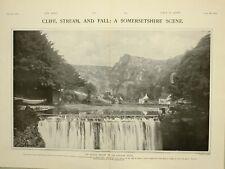1903 PRINT SOMERSETSHIRE SCENE CHEDDAR CLIFFS MENDIP HILLS