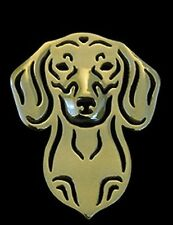 Dachshund Brooch or Pin-Fashion Jewellery Gold Plated, Stud Back