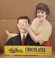 Original 1920's-30's Cardboard Walker's Chocolate Muskegon MI Advertisement