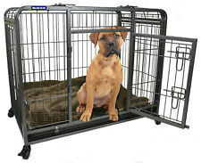 Medium Premium Heavy Duty Dog Crate Cage with Nylon Wheels - Size Medium