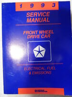 1993 Front Wheel Drive Car Chrysler Electrical Fuel Emissions Service Manual
