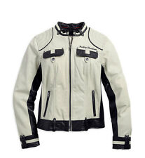 Harley Davidson Women's AMELIA Off White Winged B&S Leather Jacket 98072-14VW 2W