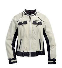 Harley Davidson Women's AMELIA Off White Winged B&S Leather Jacket 98072-14VW L