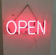"""Open Pink Neon Light Sign Lamp Beer Pub Acrylic 14"""" Real Glass Artwork Bar"""