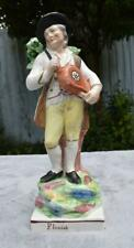 "Large 18thC Antique Pearlware Staffordshire Musician Figure - ""Flemish"" C 1800"