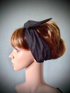 Black cotton hair scarf,1940's style headband, cotton self tie pin up, retro