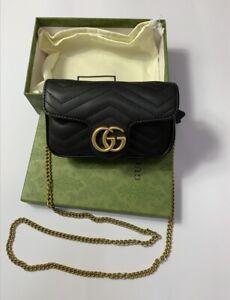 Gucci Gg Crossbody Marmont Calfskin Matelasse Mini Black Leather Shoulder Bag