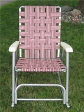 Vintage Maroon (Red) & White Aluminum Rocking Folding Lawn Chair
