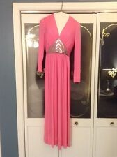 """Vintage """"Huey Waltzer for Mannequin"""" Pink Deco Beaded Gatsby Long Sleeve Maxi"""