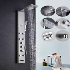 Bathroom Shower Tower Brushed Nickel Thermostatic Control Waterfall Rainfall Tap