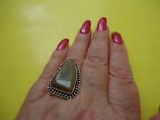 925 Sterling Silver Overlay Ring With Jasper Gemstone Size- 8.0     #R94.