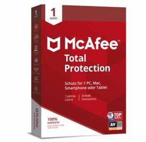 McAfee Total Protection | 1 Geräte |1 Jahr | neuste deutsche Version | per Post