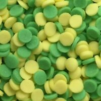 YELLOW AND GREEN CONFETTI ROUNDS 3mm Edible Cupcake Sprinkles Cake Decorations