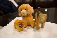 VINTAGE STUFFED STEIFF Pekingese Dog Peky Herman Teddy Terrier & Wind Up Dog
