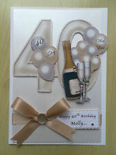 Luxury Hand-Made 40th Birthday Card-Can Be Personalised-Any Relative/Friend
