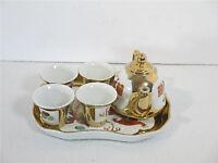 Sake Tea Set Dragon Peacock Vintage Chinese White Red Teapot Cups Tray Set of 6