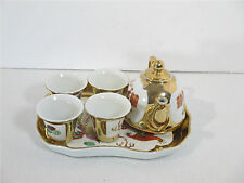 Sake Tea Set Dragon Peacock Vintage Chinese White Red Teapot Cups Tray Set of 6