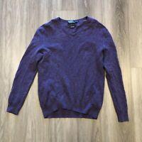 Polo Ralph Lauren Mens XL Cotton Cashmere Purple V Neck Lightweight Sweater