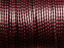 5 mètres - Cordon Coton Ciré 2mm Noir et Rouge Rose   4558550007025