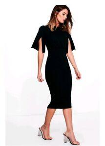 boohoo split sleeve dress UK 8 women's black midi ladies party