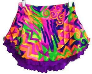 NWT Icings skating skirt purple colorful print Size S