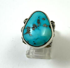 Repousse Turquoise Handmade Ring. Native American Sterling Silver