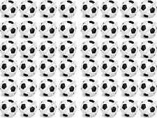 48 x Black/White Football Edible Rice Wafer Paper Birthday Cupcake cake Toppers