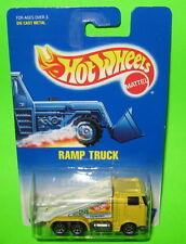 Hot Wheels Ramp Truck #187 Yellow White Tow 7 sp Spoke MOC 1991 card 0700