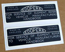 Vintage classic style COOPERS MGB Air filter housing stickers, gloss laminated