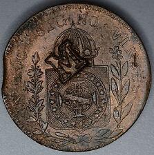 Brazil Maranhao 80 Reis 1832, EF Details, Like #405, Scarce M Countermark Error.