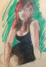Vintage impressionist watercolor painting female portrait
