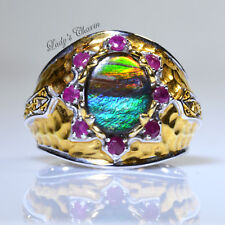 Michael Valitutti Gems En Vogue Ammolite Ruby Sterling Silver Ring 7