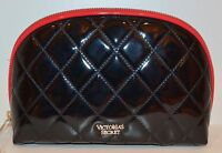 VICTORIA'S SECRET BLACK QUILTED SHINY BEAUTY BAG MAKEUP COSMETIC CASE TRAVEL NEW