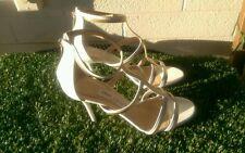 Womens JIMMY CHOO Thistle White & Gold T Strap Sandal Size 9.5 or 39.5 Italian