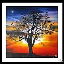 "Landscape Australia  Print Art Painting Jane Crawford  fruit bat sunset  24"""