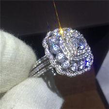 Fashion White Topaz 925 Silver Women Jewelry Wedding Engagement Ring Gift Sz6-10