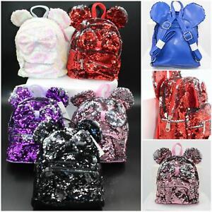 Sequin Shoulder Backpack Shinny Glitter Bag Twin Pocket Girls School Travel UK