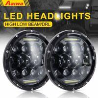 2X 7Inch 150W Round LED Headlights DRL Hi/Lo Beam for Jeep Wrangler JK TJ CJ LJ