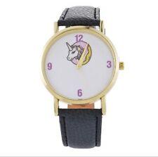 Armbanduhr Uhr Damenuhr Armband Lederarmband Kunst-Leder gold schwarz Einhorn