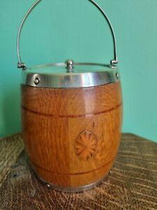 Antique Oak Wooden Lidded Ice Bucket Biscuit Barrel with ceramic lining