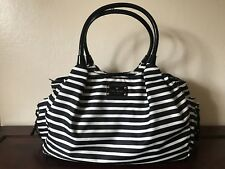 Beautiful KATE SPADE Black And White Stripe Stevie Diaper Bag Tote Unisex
