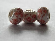 3 Silver Charm BEADs Pandora White Flowers  .925 Silver lot 230
