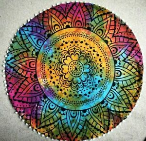 """Colourful Ombre Mandala Cotton Indian Large Round Floor Cushion Cover 32"""" Inch"""