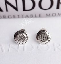New Genuine Pandora Silver Signature Stud Earrings With Gift Pouch 290559CZ
