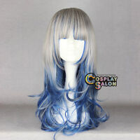 "24"" Anime Lady Ombre Long Grey Mixed Dark Blue Lolita Curly Cosplay Wig+Cap"
